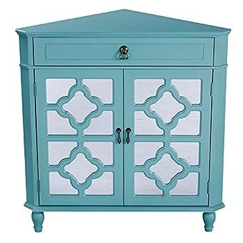 Heather Ann Creations Modern 2 Door Corner Cabinet With Drawer With 8 Pane Clover Mirror Insert Turquoise