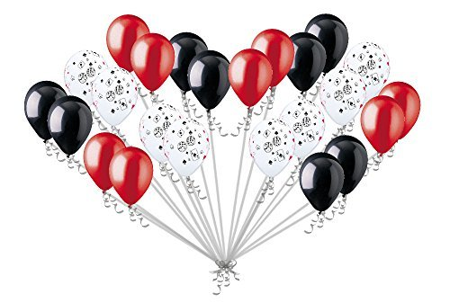 24 pc Casino & Poker Night Inspired Latex Balloon Party Decoration Cards & Dice