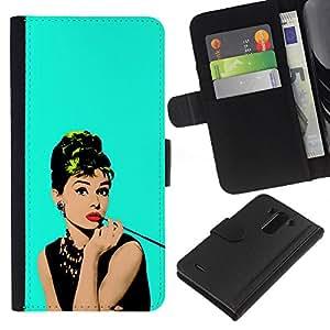 Actriz fumadores famoso vintage- la tarjeta de Crédito Slots PU Funda de cuero Monedero caso cubierta de piel Para LG G3