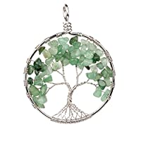 YJH Crystal Alloy Plated Round Eternal Tree Of Life with Gravel Charm Pendant Healing DIY Necklace