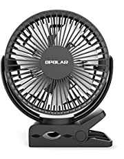 OPOLAR Clip Fan, 5200mAh Rechargeable Battery Operated, 3 Speeds, Strong Clamp, 7 Blade, Quiet Portable Mini Clip & USB Desk Fan 2 in 1, Baby Stroller, Golf Cart, Treadmill, Office, Outdoor Travelling