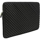 Evecase Diamond Foam Splash & Shock Resistant Neoprene Universal Zipper Sleeve for 17 - 17.3-Inch Laptop - Black