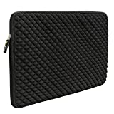 Evecase Diamond Foam Splash & Shock Resistant Neoprene Universal Zipper Sleeve for 17 - 17.3-Inch Laptop - Black