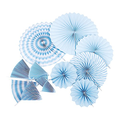 ZOOYOO Hanging Tissue Paper Fans Fiesta for Party Supplies Wedding Decorations (Blue)