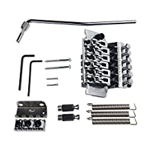 Kmise Electric Guitar Double Tremolo Bridge System For Guitar Floyd Rose Parts Replacement 1 Set (Chrome)