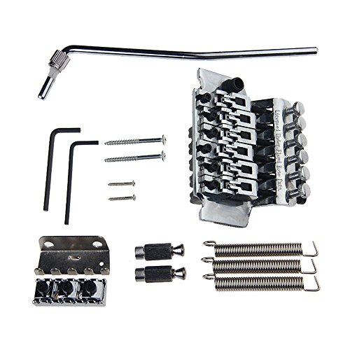 Chrome Licensed Floyd Rose Guitar Double Tremolo Bridge System with Locking Nut,whammary Bar