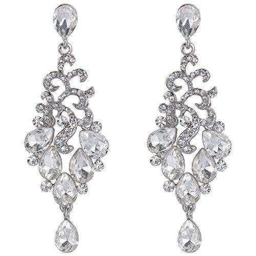 - BriLove Women's Bohemian Cluster Crystal Beaded Wedding Bridal Teardrop Chandelier Dangle Earrings Clear Silver-Tone