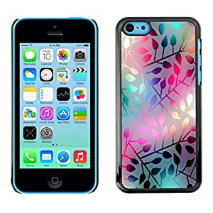 // PHONE CASE GIFT // Duro Estuche protector PC Cáscara Plástico Carcasa Funda Hard Protective Case for iPhone 5C / PASTEL NEON LEAF PATTERN /
