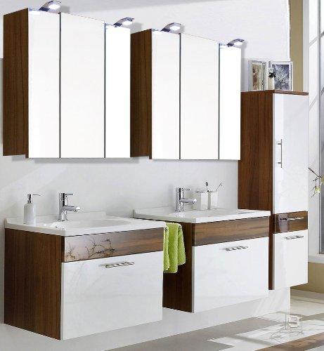 Badezimmer Set Hochglanz weiß Walnuss Badezimmermöbel Spiegelschrank ...
