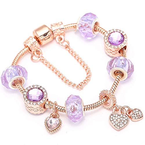 AAA.Yongfugui Wrist Decoration Heart; Key Pendant Flower Gold Color Fine Anklet Bracelets; Bangles Ferris Wheel Beads Charm Bracelet for Ladies Jewelry ()
