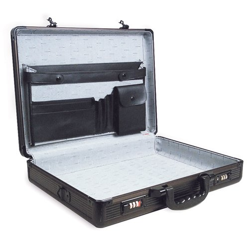 "RoadPro SPC-941G Black 17.5"" x 4"" x 13"" Aluminum Briefcase"