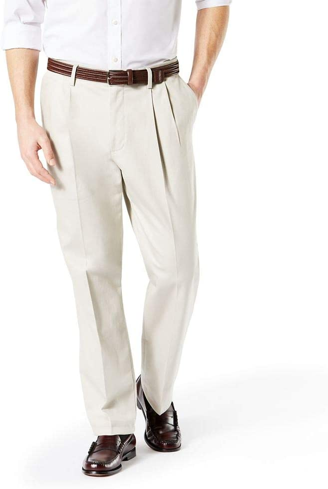 1950s Men's Pants, Trousers, Shorts | Rockabilly Jeans, Greaser Styles Dockers Mens Classic Fit Signature Khaki Lux Cotton Stretch Pants - Pleated $27.10 AT vintagedancer.com