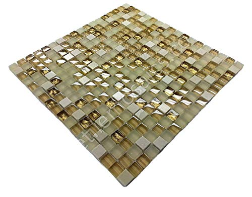 Vogue Premium Quality Square Beige Glass Light Emperador Marble Mixed Mosaic Subway Tile on Mesh Designed in Italy (Lot of 50 sq. ft.)