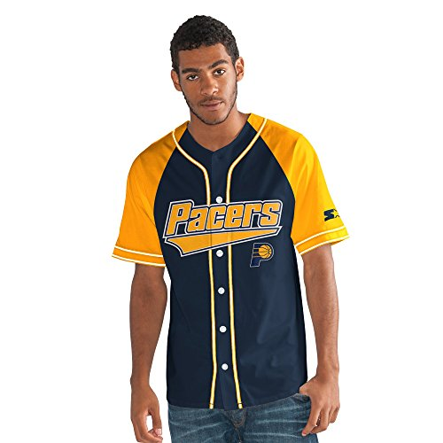 STARTER NBA Indiana Pacers Men's The Player Baseball Jersey, 3X, (G-iii Baseball)