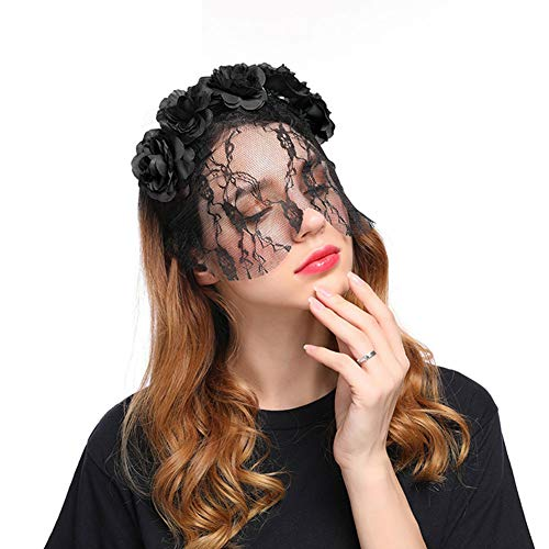 Zhtrade Fascinator Hats for Women & Girls Tea Party Headband with Rose Flower & Lace Veil Headwear for Cocktail Wedding Halloween Black
