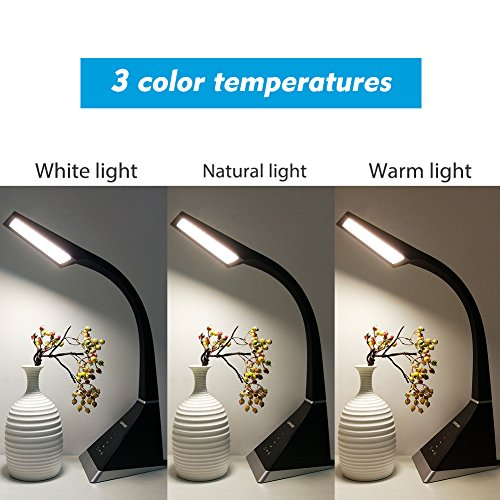 LEPOWER Desk Lamp, Eye-Caring Touch Control LED Study Lamps, Dimmable Office Lamp, 3 Color Modes 5 Adjustable Brightness Levels Table Lamps for Bedroom and Office (8W Black)