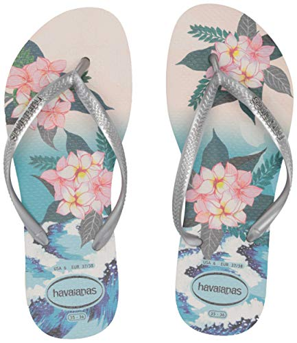 Havaianas Slim Tropical Sunset Flip Flop Sandal, Beige, ((11-12 M US Women's / 9-10 M US - Embossed Sandals Havaianas