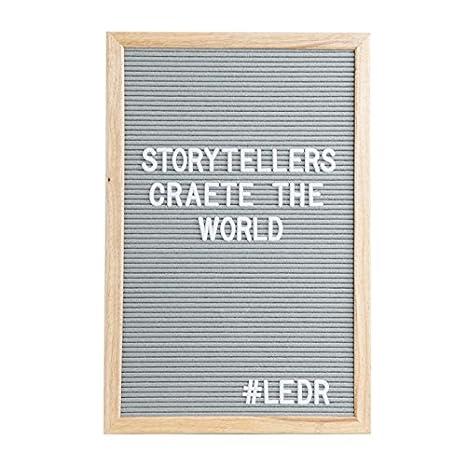Ledr®–Letter Board–Bacheca in feltro, legno di quercia | 290lettere, cifre, simboli bianchi, 30x 30x 2cm, design retrò Blanc / Bois - 30 X 30 Cm