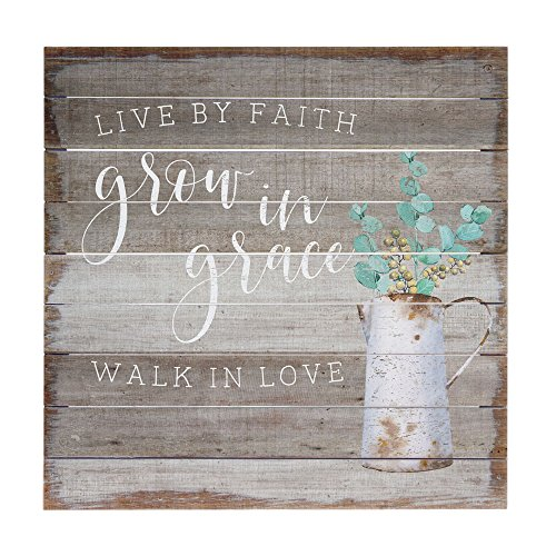 Sincere Surroundings Perfect Pallets 14″ x 14″ Wood Sign, Live by Faith, Grow in Grace, Walk in Love Review