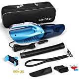 Gomistar Car Vacuum Cleaner 4 in 1 Powerful Wet/Dry 12V 100W Car Vacuum, Tire Inflator, Tire Pressure Gauge & Led Light with Carry Bag with Phone Bracket Mount Holder free gift
