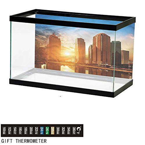 bybyhome Fish Tank Backdrop City,Skyscrapers of Shanghai Sunset,Aquarium Background,72