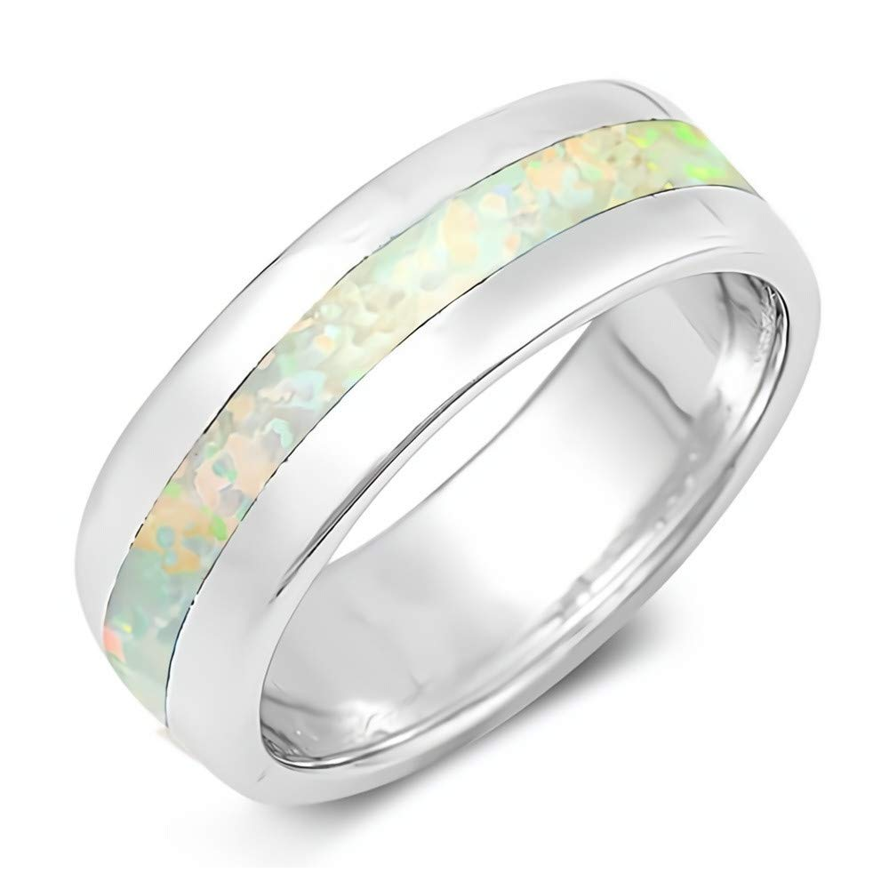 Glitzs Jewels 925 Sterling Silver Created Opal Ring Jewelry Gift for Women White