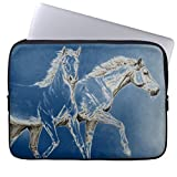 15-15.4 Inch Computer Sleeve for Macbook Air 15 inch Modern Two Horses Laptop Sleeve for Women Ultraportable Neoprene Computer Case for Laptop
