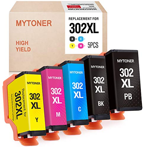 MYTONER Remanufactured Ink Cartridge Replacement for Epson 302xl T302XL 302 T302 Ink for Expression Premium XP6000 XP-6000 Printer (Black, Photo Black, Cyan, Magenta, Yellow, 5-Pack)