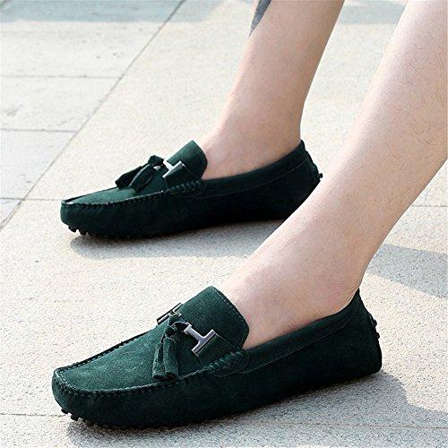Alta Guisantes de Estaciones de Los Hebilla Verde Casuales Hombres Zapatos de Guisantes de de Zapatos Cuero Cuatro de Calidad de Oneforus de Zapatos Metal Zapatos oscuro gqw0tnPx