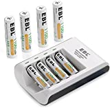 EBL AA AAA Rechargeable Battery Individual Rapid Charger with 8 Counts AAA 1100mAh Rechargeable Batteries