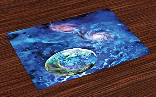 Ambesonne Constellation Place Mats Set of 4, Exo Solar Planet Painting Style Vibrant Universe Awesome Space, Washable Fabric Placemats for Dining Room Kitchen Table Decor, Turquoise Blue Pale Pink by Ambesonne