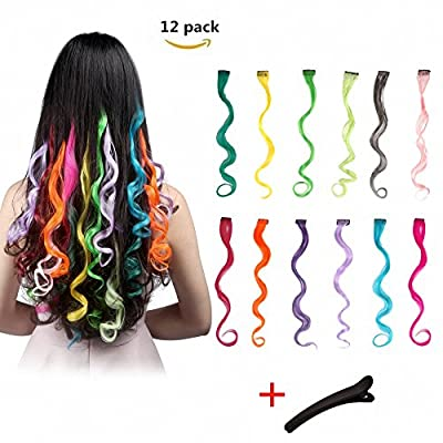 FESHFEN 12 Pcs 12 Colors Full Color Curly Wave Clip on in Hair Extensions Hairpieces 18 Inches Long Remy Hair Colored Party Highlights Hair Accessories DIY Hair Decoration Cosplay with Gift Hairpin