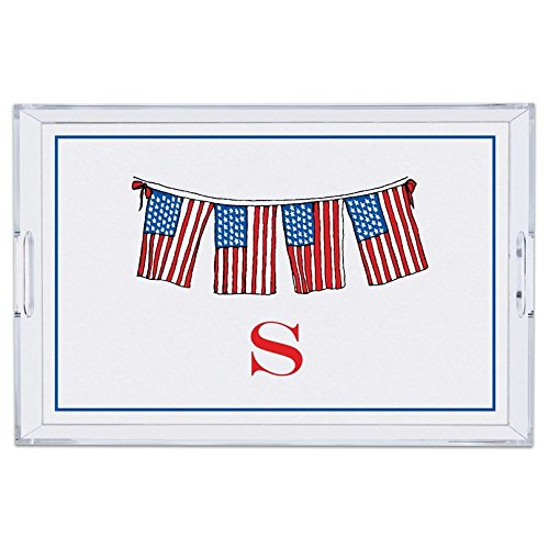 Personalized Lucite Trays - Chatsworth Flags Lucite Tray with Single Initial, H, Large, Multicolored