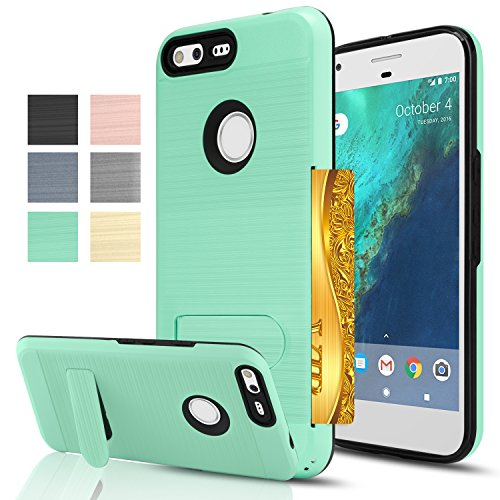 Price comparison product image Google Pixel Xl Case,  AnoKe [Credit Card Slots Holder][Not Wallet] Kickstand Hard Plastic PC TPU Soft Hybrid Shockproof Heavy Duty Protective Holster For Google Pixel Xl KC1 Mint
