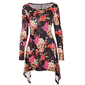 DREAGAL Women's Scoop Neck Long Sleeves Irregular Hem Printed Tunic Blouse Tops