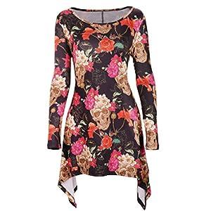 DREAGAL Women's Scoop Neck Long Sleeves Irregular Hem Printed Tunic Blouse Tops