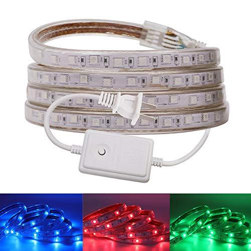 XUNATA LED Strip Lights, 20ft 110-130V Rope Lights, RGB 5050 SMD IP67 LED Tape with US Plug, Ideal for Kitchen Lighting, Decking Lights, Bathrooms, Garden ()
