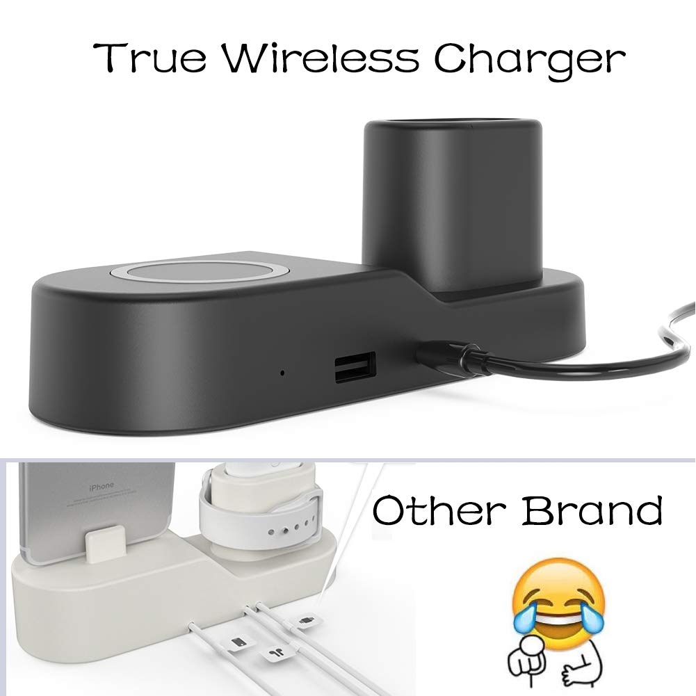 FACEVER 36W 3 in 1 Wireless Charger Station with USB Output, Fast Qi Wireless Charger Compatible with Apple Watch iWatch Airpods iPhone Xs MAX XR X 8 Plus, Samsung S9 S8+, Qi-Enabled Devices -Black by FACEVER (Image #3)