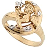 10k Two-Tone Yellow and White Gold Angel on The Moon with Star CZ Ring