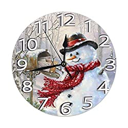 FeHuew Seasonal Winter Snowman Decorative Wall Clock 9.5 Inch Non Ticking Battery Operated for Student Office School Home Decor Round Silent Desk Clock Art