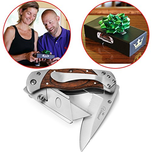 Premium Folding Utility Knife 2-in-1- Handmade Box Cutter with Belt Clip - Stainless Steel & Wood Handle Razor Knives. Best Gift Idea by Vermont.