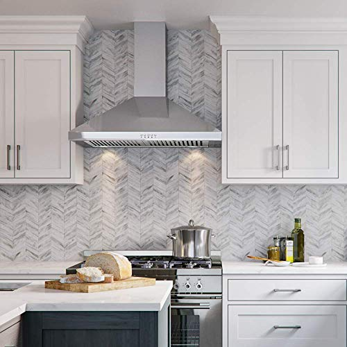 """CAVALIERE Range Hood 30"""" Inch Wall Mount Stainless Steel Kitchen Exhaust Vent, With 400 CFM, 3 Speed Fan & Push Button Control Panel LED lights"""