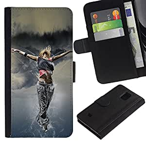 All Phone Most Case / Oferta Especial Cáscara Funda de cuero Monedero Cubierta de proteccion Caso / Wallet Case for Samsung Galaxy S5 Mini, SM-G800 // Dance Woman Street Style Outfit Fashion Art