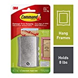 Command 8 lb Capacity Sticky-Nail, Indoor Use, 1 hanger, 2 strips, 2 frame stabilizer strips (17048-ES)