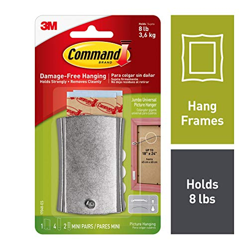 Command Sticky-Nail, Holds 8 lbs, Indoor Use, 1 hanger, 2 strips, 2 frame stabilizer strips (17048-ES)