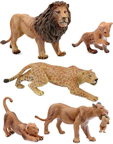 Click N' Play Assorted Beautifully Detailed Lion Wild Cat Family, Animal Set