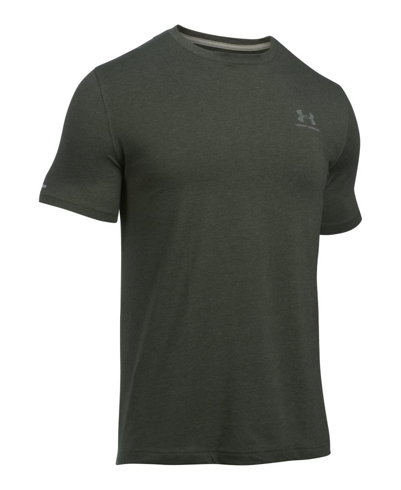 Under Armour Men's Charged Cotton Left Chest Lockup T-Shirt, Artillery Green Medi /Tan Stone, Small