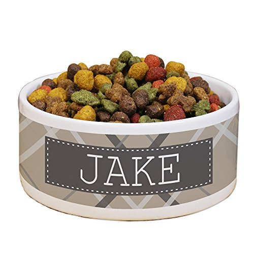 GiftsForYouNow Plaid Personalized Pet Food Bowl, Tan (Pet Personalized Dish)