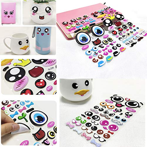 Cute Stickers for Kids,ForTomorrow Faces Puffy Stickers 4 Sheets with Lips, Glasses, Beard, Ties Foam Eyes Decals for Craft Card Making - 184 PCS PVC Foam Stickers(PVC- Foam SmileEmoji Stickers)