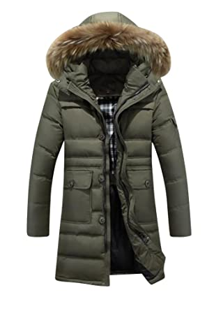 d2c2d5483 CHENGYANG Mens Warm Long Down Coats Faux Fur Hooded Winter Down ...